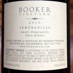 Booker Tempranillo Paso Robles 2010  WS: 91, $60