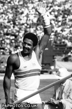 USA Olympic Games in Los Angeles 1984. Daley Thompson, declathon gold medal winner again.
