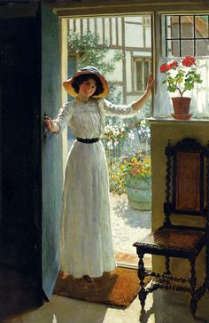 Margetson William Henry - At The Cottage Door ~ Good use of colour and shadow to create depth and show the difference between inside and outside.
