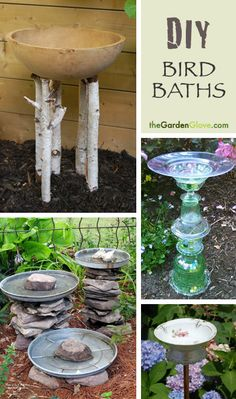 DIY Bird Baths - Easy projects you can do! by SteampunkBuddha DIY Bird Baths - Easy projects you can Diy Garden, Garden Crafts, Dream Garden, Lawn And Garden, Garden Projects, Easy Projects, Diy Crafts, Diy Bird Bath, Homemade Bird Baths