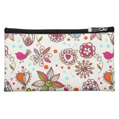 Hearts & Girly Flowers Cosmetic Bag - girly gifts girls gift ideas unique special