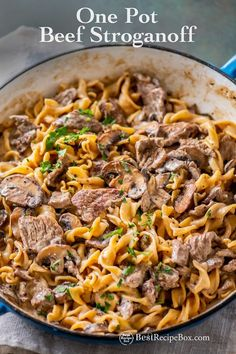 One Pot Beef Stroganoff Recipe that's easy and so good. The sauce on this recipe for beef stroganoff is creamy and delicious! Beef and egg noodles tender One Pot Dinners, Easy One Pot Meals, Easy Dinner Recipes, Easy Dinners, Egg Noodle Recipes, Beef Recipes, Cooking Recipes, Healthy Recipes, Healthy Food