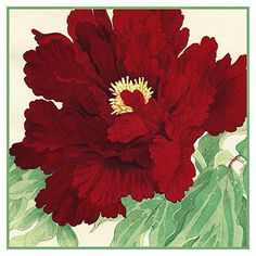 Tanigami Konan Asian Red Peony Flower detail Counted Cross Stitch or Counted Needlepoint Pattern