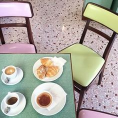 """surprisesalope: """"Bar Luce Details of the restaurant Wes Anderson designed in Milan, Italy for Prada's new art and culture complex, Fondazione Prada. Wes Anderson, Cafe Bar, Cafe Restaurant, Restaurant Design, Bakery Design, Chinese Restaurant, Pastel Interior, News Cafe, Cafe Interior"""