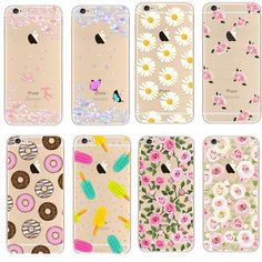 Newest Fashion Colorful Phone Cases soft TPU for Apple  iPhone 5s 6 6S case  6S Plus case Waterproof Transparent Flower Pattern