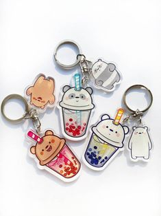 We Boba Bears - We Bare Bears Inspired Keychain Charm Acrylic Keychains, Acrylic Charms, Resin Charms, Boba Drink, Gift Boxes For Women, We Bare Bears Wallpapers, Bag Pins, We Bear, Christmas Gifts For Girls