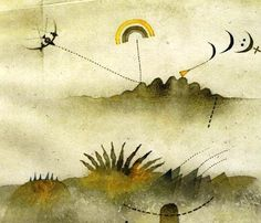 """Tullio Pericoli, Paesaggio (1982, part.), matita e acquerello su carta. I Adelphi, Fuori Collana I 2013 I Tullio Pericoli """"I paesaggi"""""""