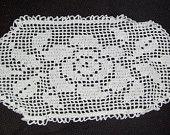 English Rose Filet Crochet Doily