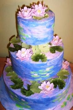 Monet inspired wedding cake