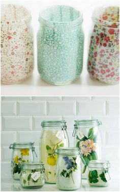 5 new ways to use mason jars | ohlovelyday.com be sure to go to the link for better pics. These are lovely.