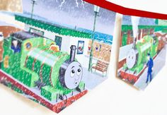 PERCY THOMAS the TANK engine Banner storybook Bunting Boy Children story book Decoration Eco Baby Shower Birthday train Party banner