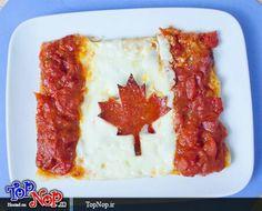 Canada flag pizza