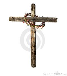 Old Wooden Cross with Bloody Crown of Thorns by Russell Shively, via Dreamstime