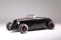 """steampunktendencies: """" 1933 Hot Rod Powered by big-block Ford """" Think there weren't hot rodders around in the late Just check out those horse-drawn carriages: big 'n' little wheels,. Rat Rod Cars, Pedal Cars, Hot Rods, Maserati, Bugatti, Factory Five, Ford Roadster, Ford Classic Cars, Kart"""