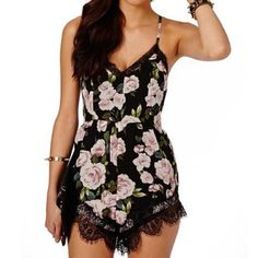 Floral lace romper Lace floral romper; available in size S ; fast one day ship; brand new; www.hashtagtrending.storenvy.com for discounts and more Dresses