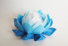 All blue origami lotus flower, flower wedding decoration, paperflowers, paper lotus, origami sculptu Origami Ball, Diy Origami, Origami Tutorial, Origami Envelope Easy, Origami Lotus Flower, Lotus Flower Art, Origami Swan, Origami Wedding, Useful Origami