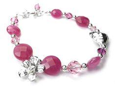 Gemstone Bracelet - Pink Jade Sterling Silver Jewelry, Gemstone Jewelry, Pink Tone, Bracelet Designs, Jade, Indigo, Swarovski Crystals, Gemstones, Bracelets
