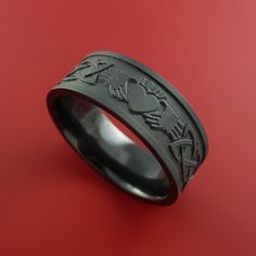 Black Zirconium Celtic Irish Claddagh Ring Hands Clasping Heart Band C – Stonebrook Jewelry
