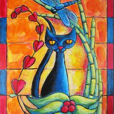 Black Cat and Paisley with blue dragonfly 8x10 by ChristinaColwell