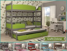 Dětské postele: patrová poschoďová postel TWIST 3 - ŠEDÁ, AJK - Nejlevnější nábytek s dopravou zdarma! Bunk Beds, Loft, Furniture, Home Decor, Decoration Home, Loft Beds, Room Decor, Lofts, Home Furnishings