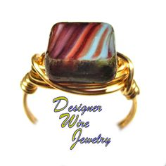DWJ0587 Lovely Jubilee Czech Art Glass Gold Wire Wrapped Ring All Sizes