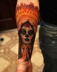 Day of the dead sugar skull tattoo - I like the fire effect on the crown. It's like the virgin Mary on make up. #TattooModels #tattoo