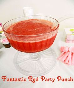 Fantastic Red Party Punch. Perfect for Christmas parties, baby showers, graduation parties, etc. SO delicious! Much better than the just sherbet and soda versions!
