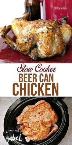 Beer can chicken is an easy and delicious dinner that can be made right in the slow cooker Crock Pot. Just chicken, beer and spices for a rub are needed to make this easy recipe.
