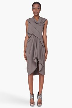 Rick Owens Grey Draped Tornado Dress for women | SSENSE
