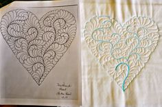 LuAnn Kessi: Feathered Heart.....Machine Quilting Denim Quilt Patterns, Machine Quilting Patterns, Longarm Quilting, Free Motion Quilting, Machine Embroidery, Straight Line Quilting, Tangle Patterns, Scrapbook, Quilt Stitching