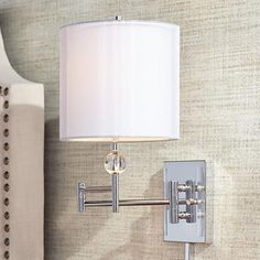 Kohle Modern Swing Arm Wall Lamp Polished Brass Plug-in Light Fixture White Cotton Sheer Double Drum Shade for Bedroom Bedside Living Room Reading - Possini Euro Design Plug In Wall Lamp, Wall Mounted Lamps, Hanging Lamps, Wall Sconces, Black Outdoor Wall Lights, Outdoor Wall Lighting, Lighting Ideas, Bedside Lighting, Wall Sconce Lighting
