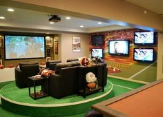 The Best Home Theaters for Football Parties The best football parties are held in the best home theaters. These football fans combined two great passions in their favorite rooms.