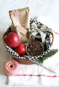 Breakfast Gift Basket with Pancake Mix, Jam, Apples and Tea