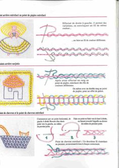 In French but looks like various uses for interlaced stitches.  DMC - Broderie Facile