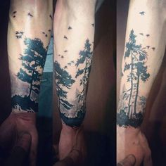 Awesome Trees Tattoo For Men On Forearm