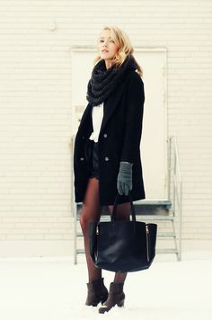 shorts with tights and wool coat Cute but cold