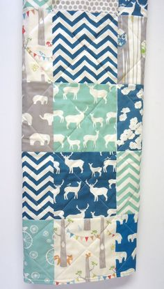 Baby Boy Quilt-Organic-Retro Birch Fabric-Modern Baby Quilt-Elephant-Deer-Woodland-Blue-Gray-Grey-Aqua-Baby Crib Blanket on Etsy, $110.00