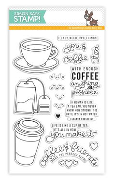 Coffee Set, Coffee Love, Coffee Doodle, Coffee Cards, Card Sentiments, Simon Says Stamp, Bullet Journal Inspiration, Copics, Card Kit