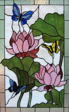 Mz. Scarletts Stained Glass - Atlanta, GA  Beautiful butterfly and flower stained glass panel
