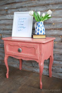 Scandinavian Pink Frenchy :: Themed Furniture Makeover Day - brepurposed