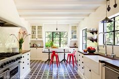 White brick Mediterranean kitchen designed by Jessica Helgerson Interior Design
