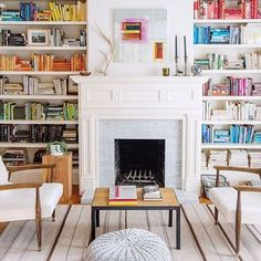 14 Cozy Library Fireplaces We'd Love to Come Home To These stylish bookshelves and cozy fireplace make a home library to die for. Library Fireplace, Cozy Fireplace, Country Fireplace, Cottage Fireplace, Fireplace Bookshelves, Fireplace Cover, Fireplace Outdoor, Victorian Fireplace, White Fireplace