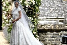 Pippa Middleton Photos Photos - Pippa Middleton arrives for her wedding to James Matthews at St Mark's Church on May 2017 in Englefield Green, England. - Wedding Of Pippa Middleton And James Matthews Pippas Wedding, Lace Wedding Dress, Wedding Of The Year, Bridal Dresses, Wedding Gowns, Bridal Gown, Lace Dress, 2017 Wedding, Pink Dress