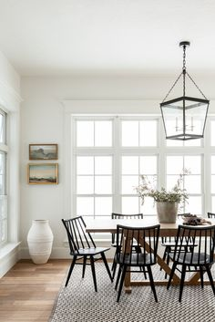 Modern Farmhouse Dining Room Transitional, textured, and character-filled. Mixed Dining Chairs, Oak Dining Table, Dining Nook, Farmhouse Dining Chairs, Patio Dining, Dining Room Chairs, Wood Table, Console Table, Side Chairs