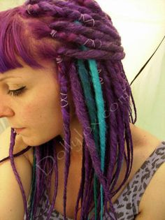 Full set of custom made synthetic dreads (50 double ended or 100 single ended), solid and blended colours - dreadlocks falls synth DEs. £65.00, via Etsy.