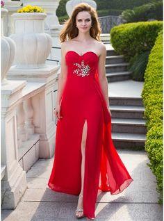 Empire Sweetheart Floor-Length Chiffon Prom Dress With Ruffle Beading Split Front