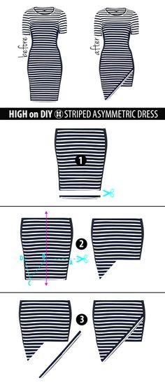 DIY Striped Asymmetric Dress #NoSew #DIYFashion