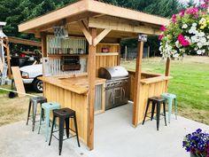 Outdoor Bar And Grill, Outdoor Grill Station, Diy Outdoor Bar, Build Outdoor Kitchen, Backyard Kitchen, Outdoor Kitchen Design, Outdoor Living, Backyard Pavilion, Backyard Gazebo