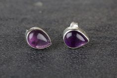 Stud Earrings – Amethyst Stud, Boho Stud, 925 Silver Stud – a unique product by Midas-Jewelry on DaWanda Amethyst Earrings, Amethyst Gemstone, Silver Earrings, Stud Earrings, Cleaning Silver Jewelry, Silver Rings With Stones, Purple Jewelry, Sterling Silver Jewelry, 925 Silver