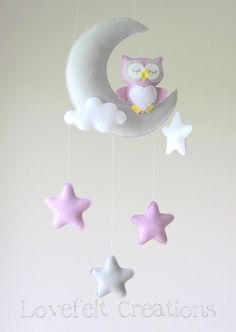 Baby Mobile Owl Mobile Crib Mobile Owl Baby Mobile Stars Baby Mobile Mobile Owl Crib Mobile Owl by lovefeltmobiles Baby Crafts, Felt Crafts, Diy And Crafts, Baby Room Decor, Nursery Decor, Felt Mobile, Mobile Mobile, Baby Owls, Baby Kind